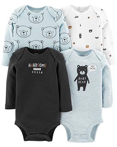 Carter's Baby Boys 4 Pack Bodysuit Set, Baby Bear, 3 Months
