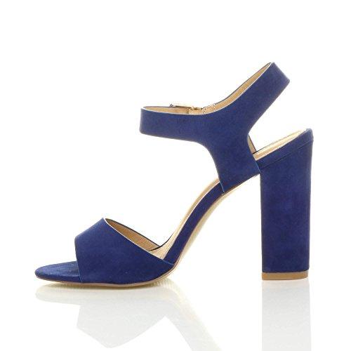 De Cobalt À Lanières Femmes Ajvani Haute Boucle Chaussures Daim Fête Élégant Sandales Talon Pointure Bleu Sw7OY