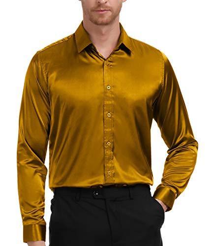Men's Stylish Solid Satin Dress Gold Luxury Shirt Size M -