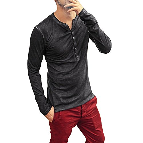 Men Casual Vintage Long Sleeve Button Up V-Neck T-Shirt Henley Tops... Black