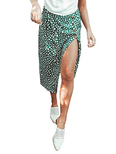 - Conmoto Women's Elegant High Waist Leopard Polka Dot Midi Skirt Button Split Long Skirt Green 8