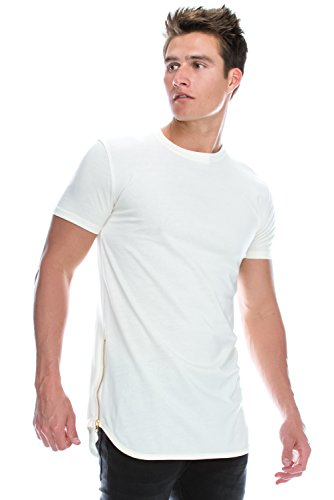 JC DISTRO Hipster Hip Hop Basic Crewneck Cream Longline Tshirts w/Side Zipper 2X Big Size by JC DISTRO