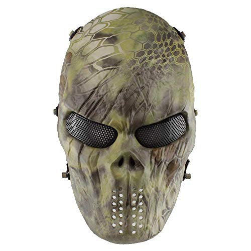 Pawaca Full Face Skull Mask,Halloween Airsoft Protective Original Python Pattern Zombie Skeleton Mask,Scary Ghost Devil Horror Mask for Biker Cosplay Costume Party Prop Paintball Airsoft CS Game