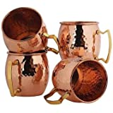 Original Moscow Mule Mug, 18-ounce Solid Copper Hammered Moscow Mule Mug Set of 4