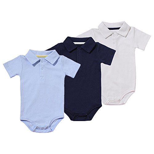 Polo Bodysuit - TIPPIBABY 3-Pack Baby Boys' Short-Sleeve Polo-Style Bodysuits for 12M,3 Colors