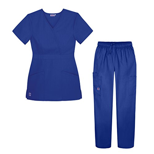 (Sivvan Women's Scrub Set - Multi Pocket Cargo Pants & Stylish Mock Wrap Top - S8401 - RYL - L Royal Blue)