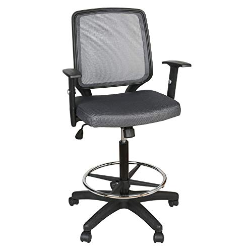 """UTRAHOME Office Drafting Chair Footrest Swivel - Adjustable Height with Ergonomic High Back Mesh Breathable Wide Seat for Office and Home 26""""- 35"""" (RED ARM ()"""