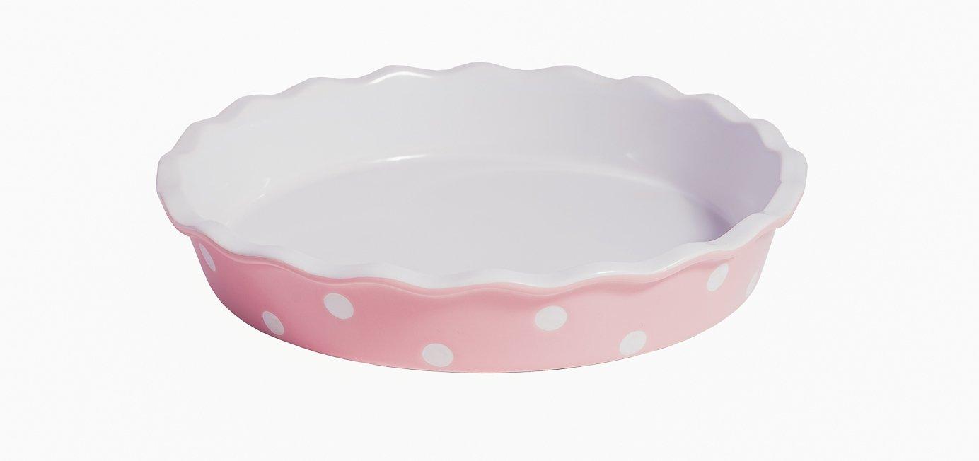 Tarte // Quiche Form Isabelle Rose rosa mit wei/ßen Punkten IR5523 Keramik