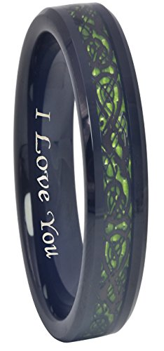 (Crownal 6mm 8mm Blue/Green Carbon Fiber Black Celtic Dragon Tungsten Carbide Wedding Band Ring Engraved