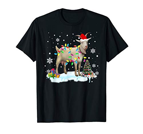 Christmas Lights Goat Funny Goat Lover Christmas Gifts T-Shirt (Goat For Christmas Gifts)