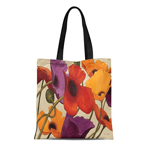 (Semtomn Cotton Line Canvas Tote Bag Yellow Contemporary Spring Poppies Purple Floral Flower Tangerine Tango Reusable Handbag Shoulder Grocery Shopping Bags)