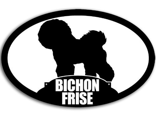 - Oval BICHON FRISE Dog Silhouette Sticker (breed decal bishon)