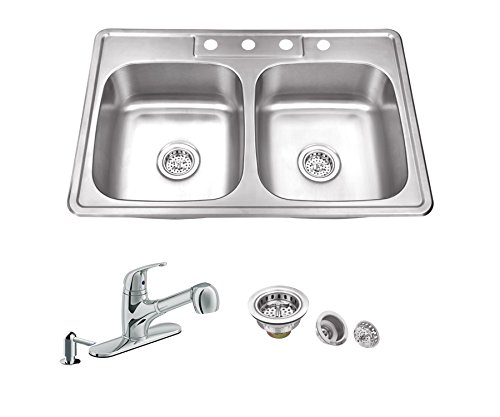 33-in x 22-in 20 Gauge Stainless Steel Double Bowl Kitchen Sink with Low Profile Pull Out Kitchen Faucet