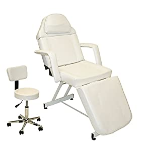LCL Beauty White Fully Adjustable Stationary Massage Facial Bed Table Salon Spa Beauty Equipment