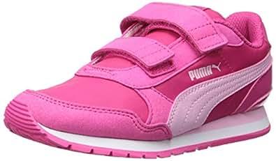 PUMA Unisex-Child St Runner Velcro Purple Size: 2 Little Kid