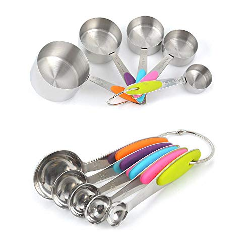 Stainless Steel Measuring Cups and Spoons Set with Accurate Engraved, Thickened Tablespoon Teaspoon for Measuring Dry and Liquid Ingredients (10 PCS Set)