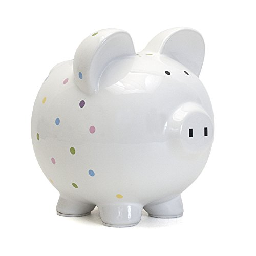 - Child to Cherish Ceramic Polka Dot Piggy Bank (Confetti)