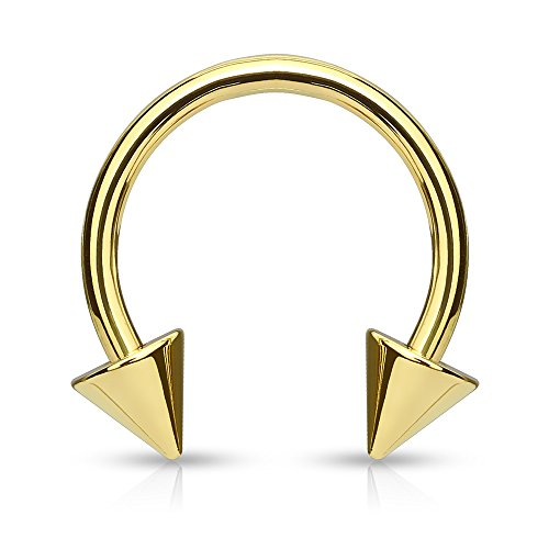 14g Circular Barbell/Horseshoe with Spikes Gold IP over 316L Surgical Steel (Sold per (Gold Spike Circular Barbell)