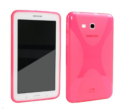 "Galaxy Tab 3 Lite 7.0"" Case,Galaxy Tab E 7.0"" Case,MAKEIT™ X Design Slim TPU Gel Rubber Soft Skin Case Cover for Samsung Galaxy Tab 3 Lite / Tab E 7.0 T110 T111 T113 T115 T116 (Hot Pink)"