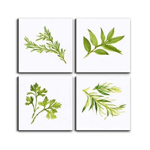 Canvas Painting Print Wall Art 4 Panels Simply Life Green Plant Leaf Modern Contemporary Painting on Canvas Set Prints Framed Nature Abstract Art Pictures for Living Room  Wall Artwork  Decorations ()