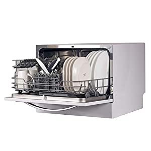 BLACK+DECKER BCD6W Compact Countertop Dishwasher, 6 Place Settings, White