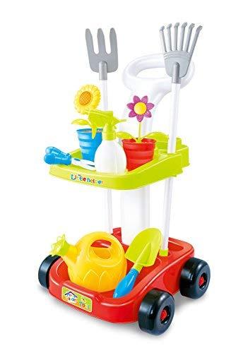 Garden Toy cart Kids Gardening Tools | Educational Toys Children | 23' Tall Wheeled cart Trolley | Pretend Play Toys Kids | Two Shelves | 2 Rakes, 2 Flower Pots, Watering Spray Bottle