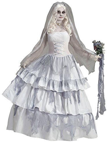 Adult Corpse Bride Deluxe Costumes (Forum Novelties Women's Deluxe Victorian Ghost Bride Costume, Multi, One Size)