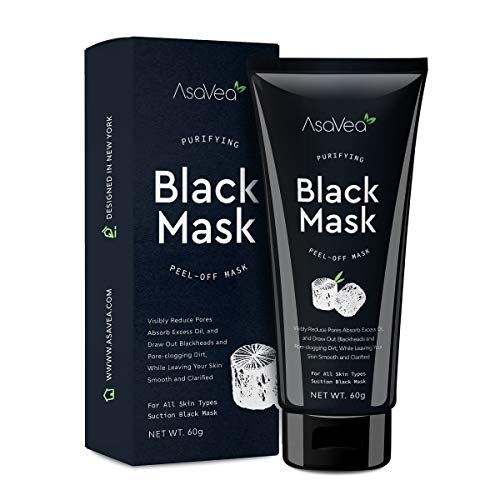 AsaVea Black Mask Purifying Black Peel Off Mask Blackhead Remover, Activated Charcoal Deep Cleansing Facial Acne Pore Cleaner 60g