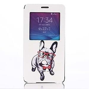 YULIN patrón encantador del perro abra la cubierta de cuero ventana con soporte para Samsung Galaxy Note 4