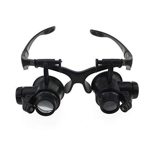 HJJH Headband Magnifier with 2Led Light, Head-Mounted Handsfree Reading Magnifying Glasses, Jeweler,Watch Loupe (10X, 15X, 20X, 25X) for Eyeglass Repair Tools, Miniature Engraving