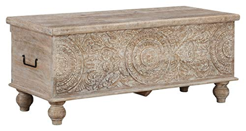 Ashley Furniture Signature Design - Fossil Ridge Storage Bench - Solid Wood - Antique Beige Finish - Hand Carved - Hinged Seat (Wood Dark Carved)