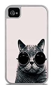 Chill Cat In Sunglasses Designs White 2-in-1 Protective Case with Silicone Insert for Apple iPhone 4 / 4S