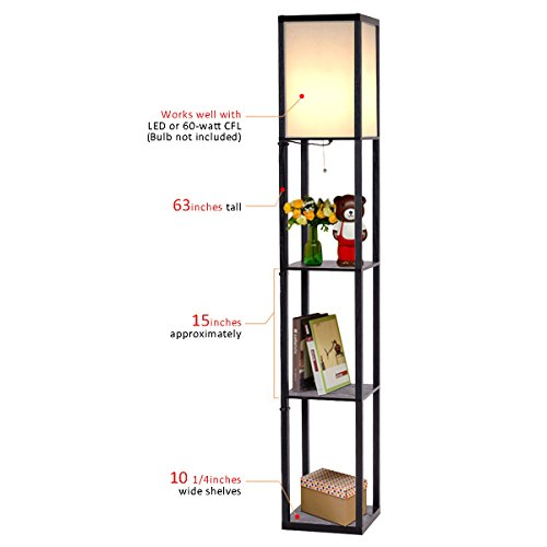 Costzon shelf floor lamp 3 storage shelves lamp 63 inch for Amazon floor lamp shelf