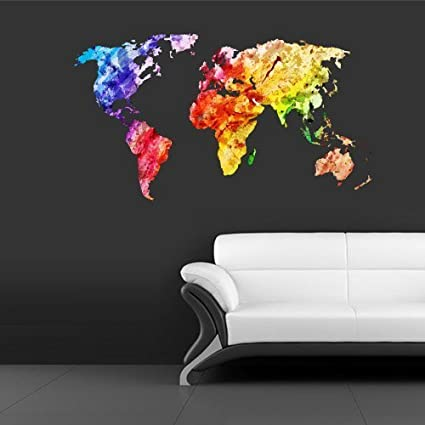 Amazon full color wall decal mural sticker decor art world map full color wall decal mural sticker decor art world map watercolor water paintings col346 gumiabroncs Image collections