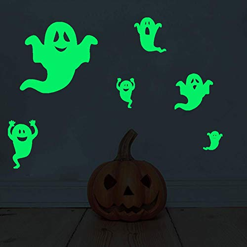 Peyan Halloween Party PVC Reusable Sticker Glowing in The Dark Scary Green Ghost Create Atmosphere Home Ornaments 6Pcs/Set -