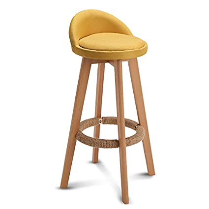 LIGHTYEARS Barstools Chair Hemp Rope Footstool PU Mat Rotating Seat Back Kitchen Dining Chair | Bar