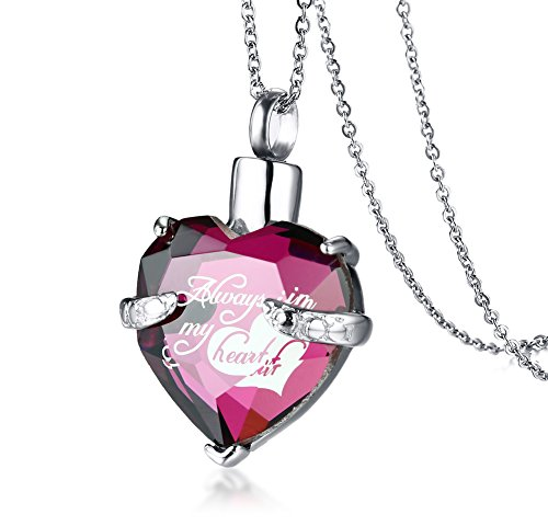 Stainless Steel Heart Shaped Crystal Glass Always in my heart Keepsakes Cremation Urn Necklace Bereavement Jewelry