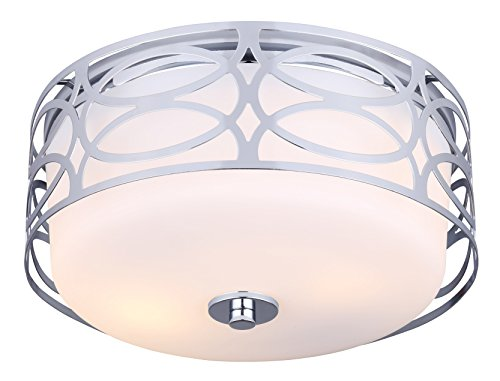 (CANARM IFM173B12CH Drake 2 Light Flush Mount with Flat Opal Glass, Chrome)