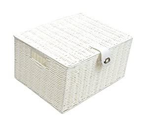 Arpan Large Resin Woven Storage Basket Box With Lid U0026 Lock U2013 White