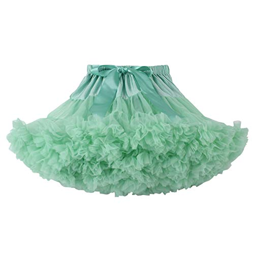 URVIP Baby Little Girl Tiered Tulle Pleated Tutu Skirt Princess Dance Pettiskirt Lake Blue XS -