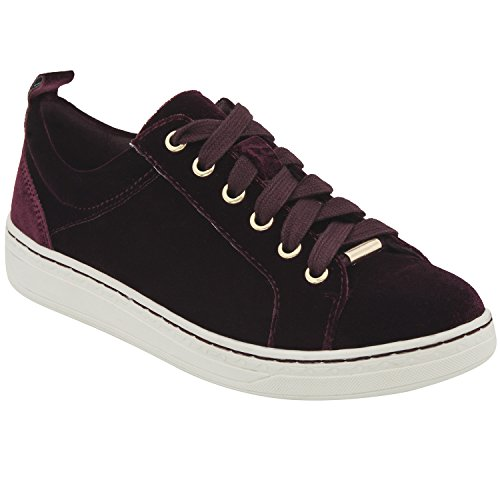Lace Womens Fashion Earth Burgundy Zag Top Velvet Up Low Sneakers pIpqdwF
