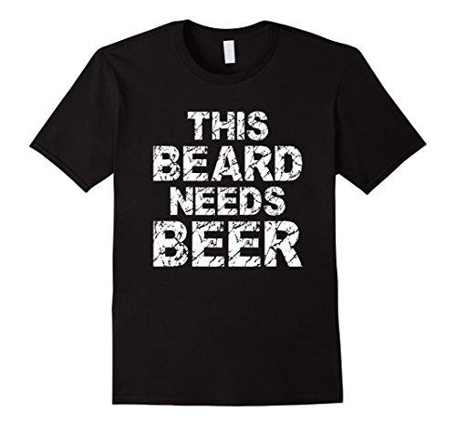 [Mens This Beard Needs Beer Funny Beard Gift T Shirt XL Black] (Beard On Men)
