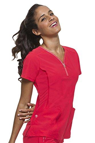 healing hands HH360 Women's Sonia 2254 Y-Neck Scrub Top- Rose Blush- Large