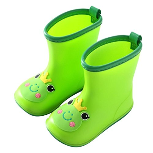 - Quaanti Children's Rubber Boots Baby Rain Boots Infant Kids Cartoon Waterproof Non-Slip Rainboots Rain Shoes for Boy Girl (Green, US:6.5(Age:2-3T))
