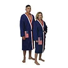 Luxurious Womens and Mens Terrry Cotton Velour Robe with American Flag pocket feature