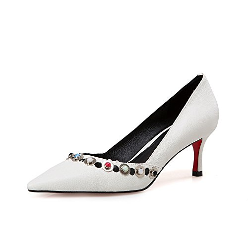 White Elegant Stiletto Dressy Seven Genuine Shoes Toe Women's Handmade Heel Trendy Leather Pointed Pumps Nine w6HqFxaqn