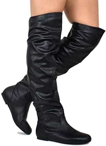 7036efb78015 Premier Standard - Women's Slouchy Over Knee High Boots - Comfortable Low  Heel Walking Boots