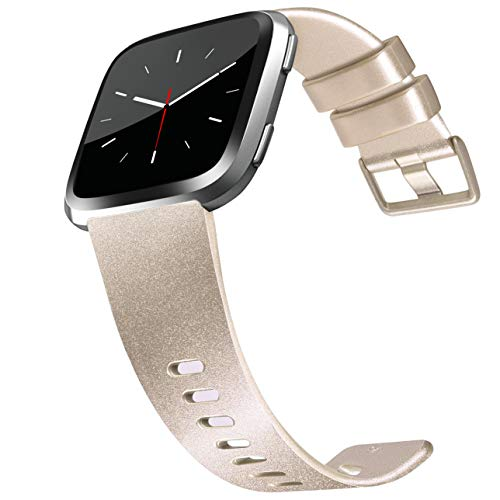 Tobfit Compatible Bands Replacement for Fitbit Versa, Silicone Wristbands Versa Accessories for Women and Men (02 Shiny Champagne Gold, Small)