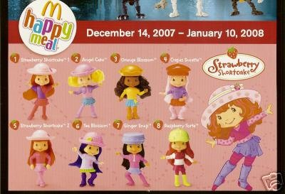 2007 McDonald's Strawberry Shortcake Happy Meal Toys: Complete Set of 8 Dolls