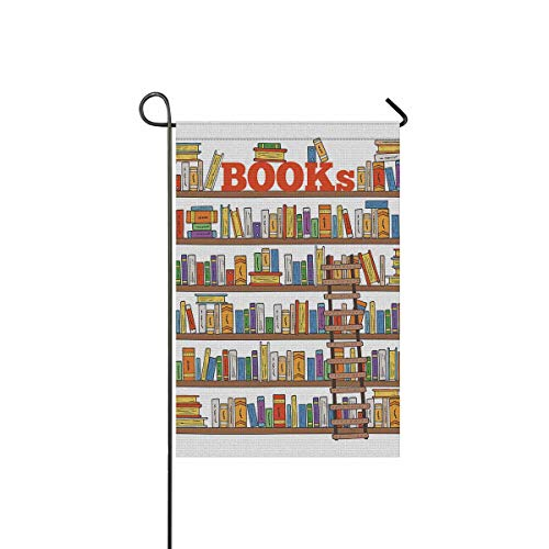 INTERESTPRINT Funny Book Shelves Collection and Ladder for Reading Club Garden Flag Decorative for Garden and Home Decorations, House Banner 12 x 18 Inches (Without Flagpole) -